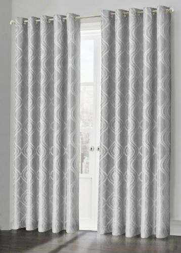 Silver Grey Fully Lined Jacquard Waves Swirl Ready Made Ring Top Curtain Pair Eyelet Curtains